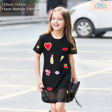 Girls Cotton Dress for Teenager Girl Kiss Star Appliques Summer Mesh Black Dresses for Teens Age 6-15 Years Casual Kids Dress(China)