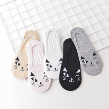 5Pairs/Bag Good Quality Cute Colorful Cartoon Animals Cat Face Low Invisible Women Sock Slippers Girls Floor Length Socks