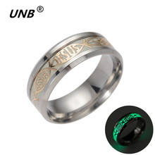 UNB Wholesale Silver Luminous Stainless Steel Finger Ring for Man Woman Jesus Rings Fashion Religious Christianity Jewellry 2017(China)
