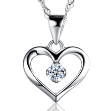 Trendy Elegant Simple Cubic Zirconia Hollow 925 Sterling Silver Heart Necklace for Women Girl Best Gift