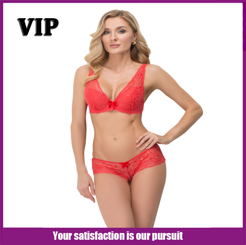 Women Red Lace Transparent 5/8 Cup Bra Pattern Bri...