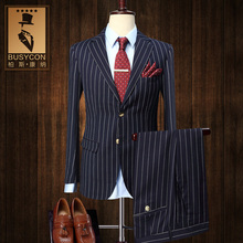 2 PCS Pinstripe Blue White Tuxedo For Men Wedding Groom Business Suits Ternos Para Hombres Elegantes Trajes Hombre Formal Slim
