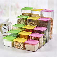 Kitchen transparent plastic storage box Whole grains beans storage jar sealed home organizer food container 3 size storage tank