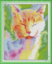 Watercolor cat in the sun cross stitch kit cartoon animal 14ct 11ct count printed canvas embroidery DIY handmade needlework plus