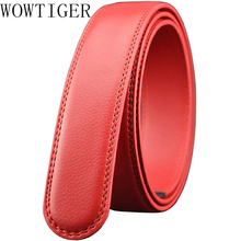 Men's Luxury Leather Belt Strap without Buckle Brown Red Blue Automatic Ratchet Belt Straps for Men's 35mm 1 3/8""