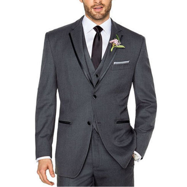 New Fashion Wedding Grey Mens Suits 3 Pieces Custom Made Terno Masculino Men Suits Groom Prom Slim Men Suits(Jacket+Pant+Vest)