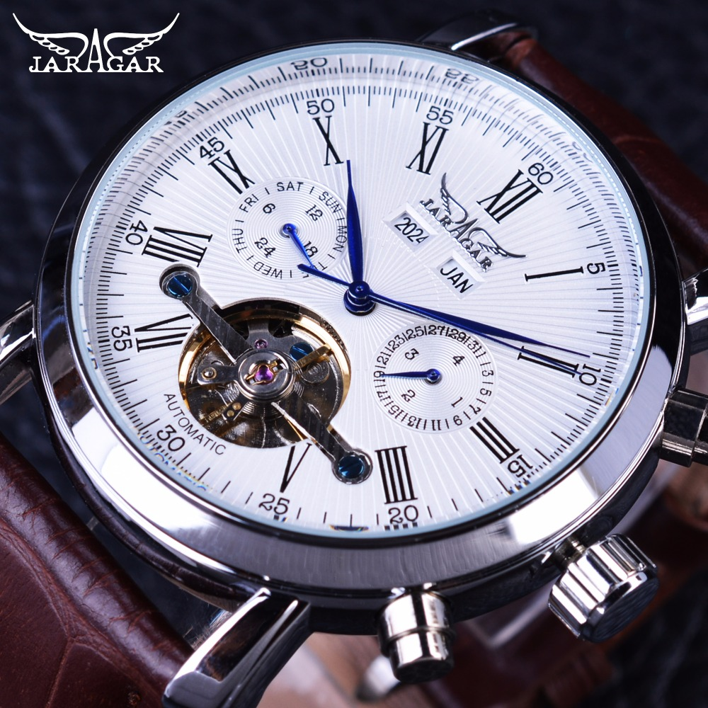 Jaragar Full Calendar Tourbillion Display Brown Leather Fashion Wearing Casual Mens Mechanical Automatic Watch Top Brand Luxury <br>
