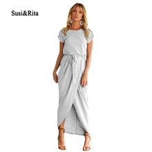 Susi Rita 2018 Maxi Dress Women Casual Short Sleeve Front Slit Summer Long  Dress Ladies Plus Size Beach Dresses Vestidos Robe 31ab0c055296