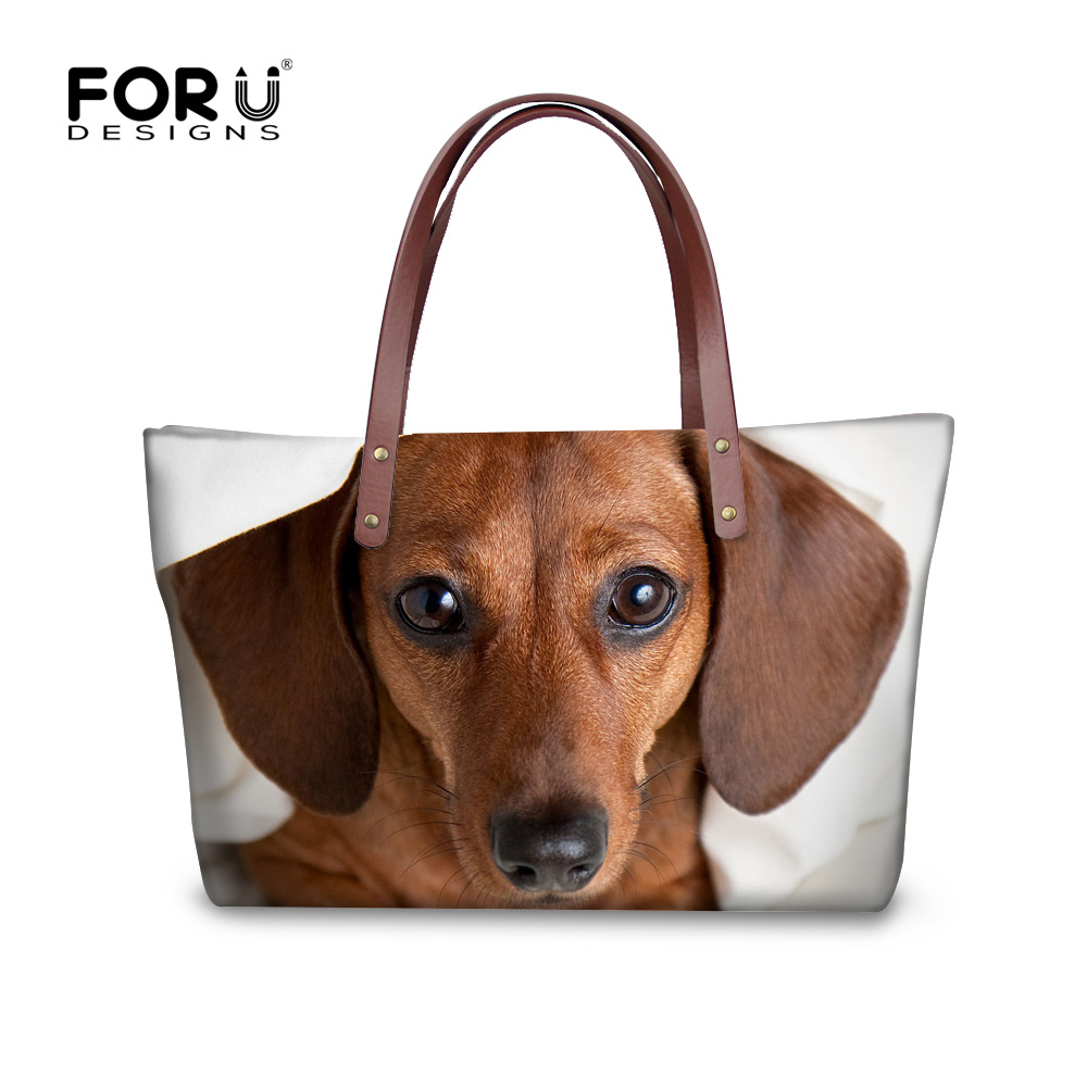 FORUDESIGNS New Women Handbags 3D Dachshund Dog Womens Cross-body Bags Animal Prints Tote Female Shoulder Messenger Bags Ladies
