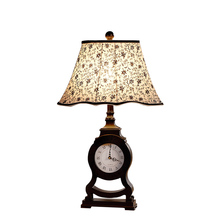 Neo-classical study European table lamp bedroom bedside lamp creative clock retro American street lamp IKEA living room
