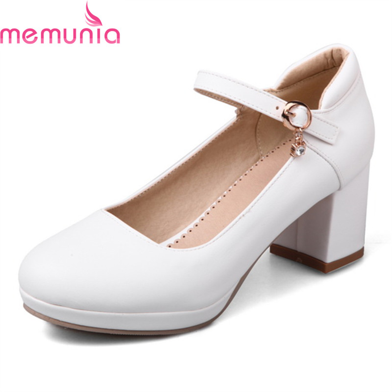 MEMUNIA spring autumn sweet buckle ladies shoes thick high heels round toe platform black white wedding shoes bride<br>