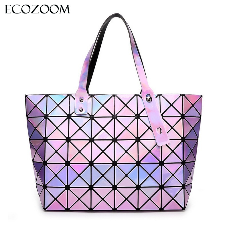 Laser Women Dazzle Color Plaid Tote Casual Bags Female Fashion Fold Over Handbags Lady Sequins Mirror