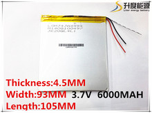 3.7V,6000mAH,4593105 Original battery polymer lithium ion battery;SmartQ T20, VI40,AMPE A86 Dual Core P85 Tablet PC