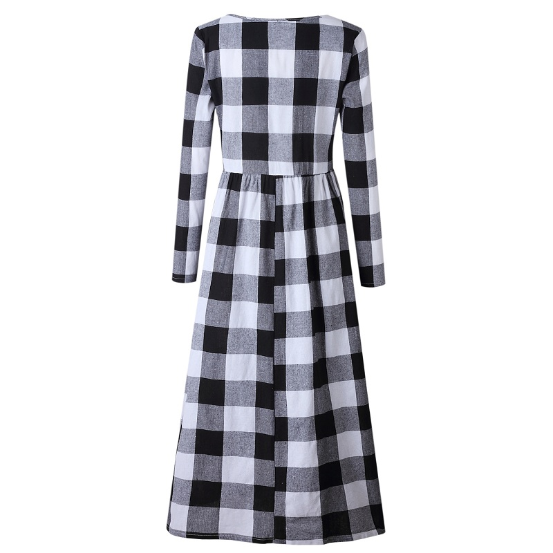 LOSSKY Fashion O-neck Long Sleeve Black White Plaid Maxi Dress Women 2018 Autumn Winter Vintage Casual Linen Long Ladies Dresses 10