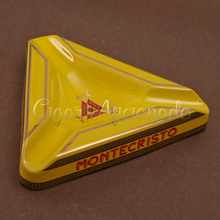 Montecristo Beautiful Gadgets High Large Size Yellow Triangular Ceramic Table Cigar Ashtray with 3 Rests(China)