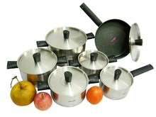 Cooking Tools 12pc Of 18/10 Stainless Steel Cookware Set Fry Pan Soup Pot Saucepan Casserole Cooking Pots Set Pots And Pans