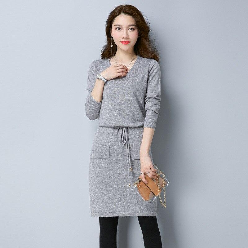 2017 autumn winter knit Knee-Length Dress solid color Slim dresses v neck Casual Knitted DressÎäåæäà è àêñåññóàðû<br><br>