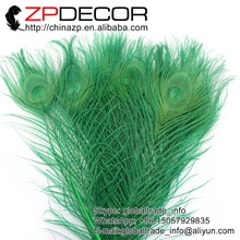 ZPDECOR 50pcs/lot  25-30cm(10-12inch) Premium Quality Beautiful Decolorizing Kelly Green Dyed Peacock Feathers Sale