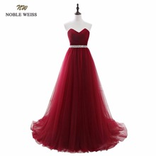 NOBLE WEISS Dark Red Evening Dresses Net Pleat Beading Custom Made Lace-up Back Prom Party Gown With Court Train(China)