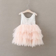 high quality NEW Girls Baby Toddler lace dress diamond pearl Lace Suspenders Tulle Party Pageant Dress 2-7y baby Xmas dress