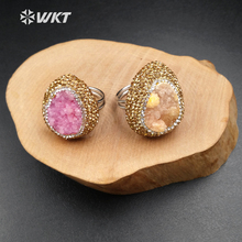 RR003 Wholesale high quality dyed drusy rings Ellipse shape druzy with rhinestone paved for women in silver color(China)