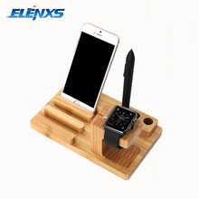 Multifunction 3-in-1 Bamboo Charging Base Dock with 4 USB Ports for iPhone Tablet Smart Watches
