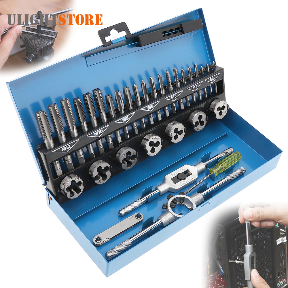 32pcs HSS Alloy Steel Metric Tap and Die Set M3-M12 1st 2nd Plug Finishing Wrench Screwdriver Screw Pitch Gauge for Metalworking<br>