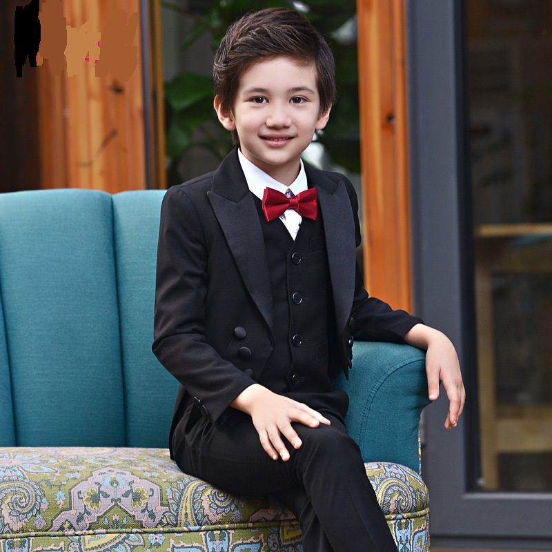 T001 Swallow-tailed coat boy's performance suit children's  boys' suit Blazer+T-shirt+Pant+Bow Tie  4pcs Blazers Suits
