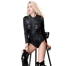 Buy new Patent leather Leopard Print zipper Long sleeves open crotch bodysuit sexy lingerie porno bodystocking latex catsuit leather