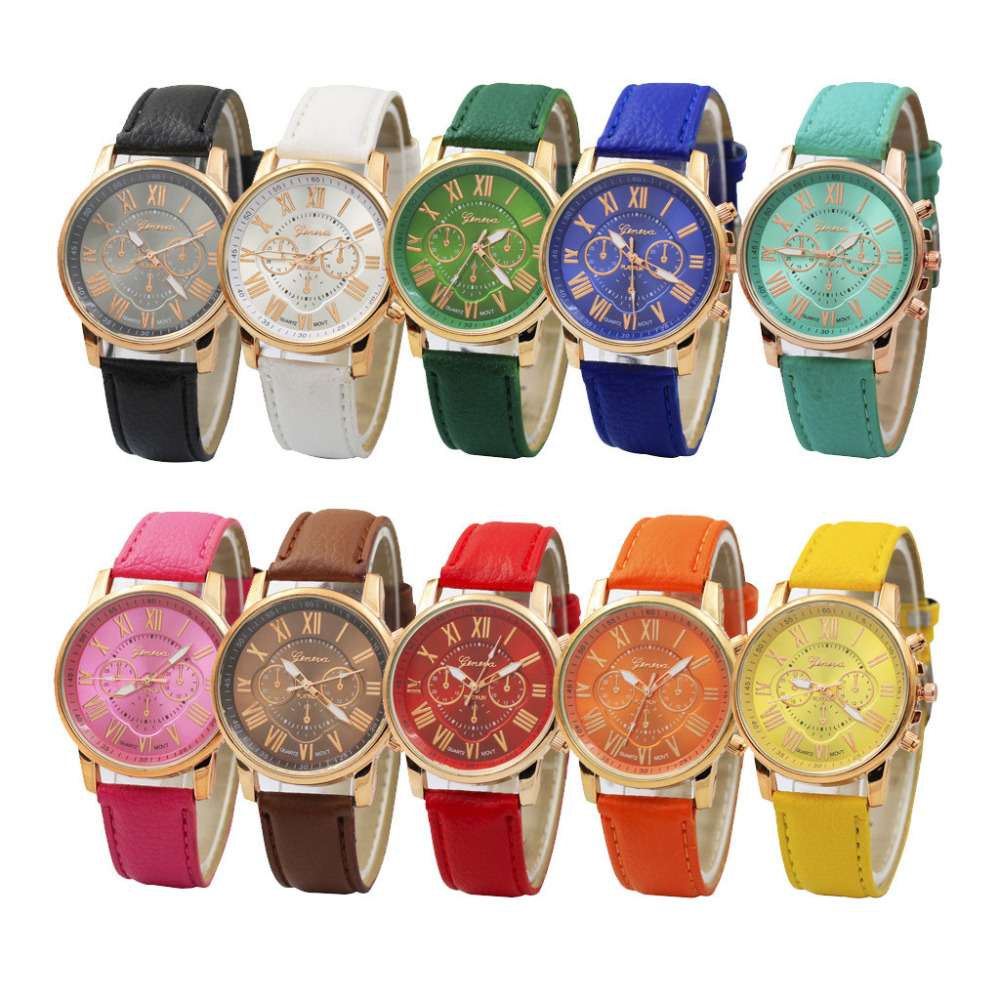 Luxury fashion casual gold women watches bracelet Women's Geneva Roman Numerals Faux Leather Analog Quartz Watch A40(China)