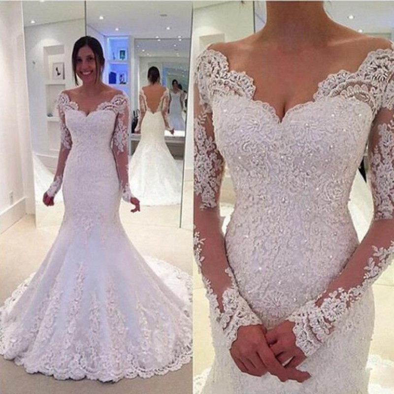 New Style Wedding Dresses Appliques gelinlik vestido de noiva princesa robe de mariee Mermaid Bride Dress Long Sleeves Beaded