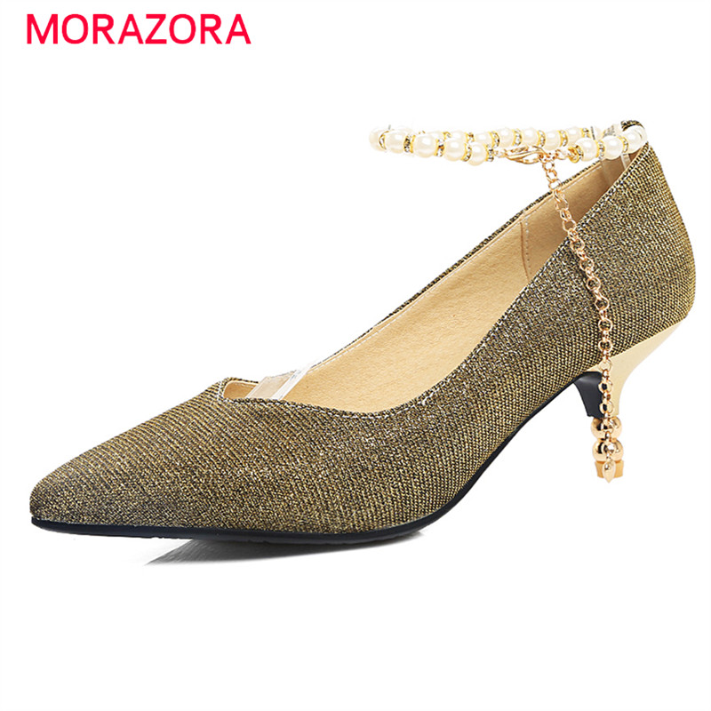 MORAZORA Buckle shallow single shoes high heels wedding party shoes big size 34-45 pumps solid fashion shoes four seasons<br>