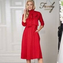 ce2054f08e3 Sisjuly Women Elegant Autumn Red Formal Bow Turtleneck Office Lady Midi  Dresses