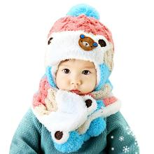 Cotton Winter baby hat scarf set Cute Bear Crochet Knitted Caps for Infant Boys Girls Children lowest price #89(China)