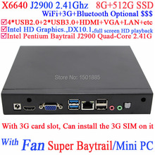 Cheap mini pc windows xp embedded computer linux from OEM factory with Intel Pentium Baytrail J2900 Quad Core 8G RAM 512G SSD
