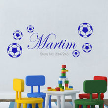 DIY Six Pieces Football Personalized Name Vinyl Wall Sticker for Kids Boys Room Decor(China)
