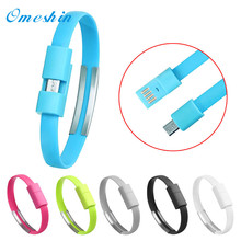 Hot selling USB to USB wristband charging Micro USB Cable Charger Charging Data Sync For Cell Phone Black Oct7