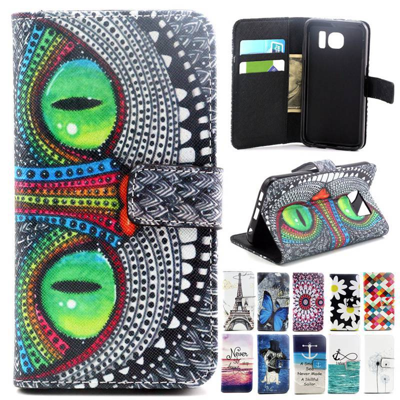 Top Grade Soft Gel Silicon Back Cover Case For Samsung Galaxy S6 Wallet Flip Leather Stand Case Cover S6 Discount Phone Cases(China (Mainland))