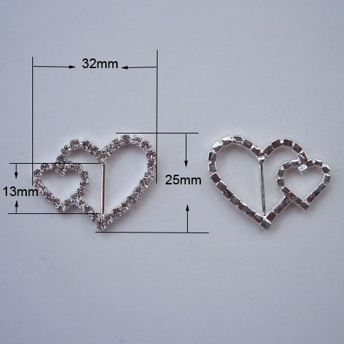 (M0224)  13mm inner bar ,32mmx25mm heart rhinestone ribbon silder,silver plating