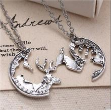 Fashion Interlocking Couples Pendant Coin Puzzle Necklace Retro Deer Necklace
