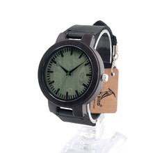 BOBO BIRD C25 Unisex Leather Band Antique Green Wood Watches With Green Anlaogue Display Ebony Wooden Watches in Gift Box