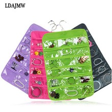 LDAJMW 24 Pockets Wall Wardrobe Hanging Organizer Home Sundries Jewelry Storage Bags Hanger Multi-layer Jewelry Display Pouch