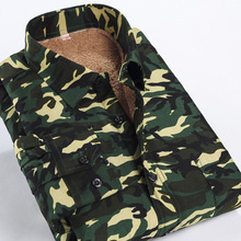 Tactical shirt men slim fit boys winter camouflage shirt long-sleeved men casual shir Men's fashion thickening warm shirt