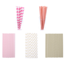 25Pcs Disposable Paper Straw for Wedding Birthday Party Drinking Paper Straws Decorative Party Event Supplies