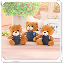 1pcs Lovely 12cm Teddy Bear Kids Plush Toys Keychain Car Hanging Bag Pendant Stuffed Bear Dolls Children Birthday Christmas Gift(China)