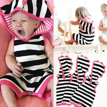 Newborn Cute Baby Jumpers Hooded Rompers Unisex Infant Clothes Cotton Short Sleeves Striped Toddler Baby Boy Girl Clothing