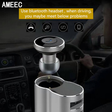 AMEEC Wireless Bluetooth Headset Headphone 2 usb Ports Car Charger For Mobile Phone Dual Micro USB HUB Port With package(China)