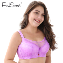 FallSweet Big Size Bras Push up Large Cup bras E F cup lace women underwear lingerie 105 110 sostenes mujer grande(China)