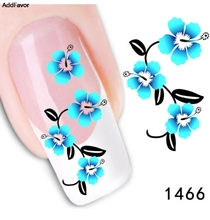 AddFavor 3PCS Blue Flower Design Water Transfer Nail Art Sticker Decal French Manicure Custom Fingernail Tips Nail Sticker Tools