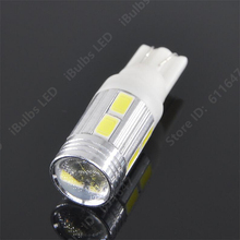 1Pcs Hotsdle 168 T10 194 W5W 10 SMD 5630 LED Super Bright Car LED Bulbs White With Lens Polarity Aluminum cover 12V
